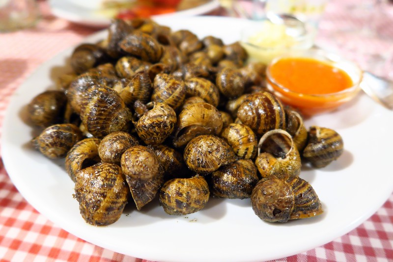 Snails as an appetizer for dinner during our Euro Food Trip
