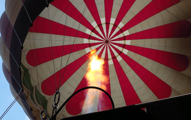 Looking up at our hot air balloon prior to taking off