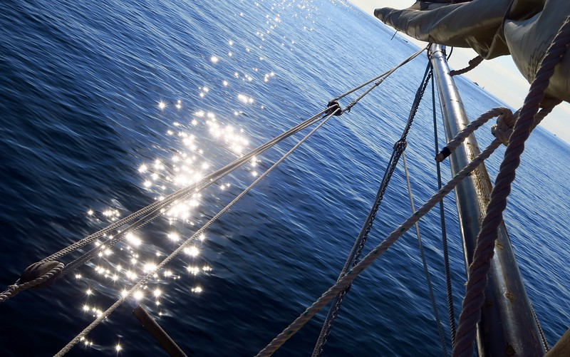 Sun reflecting off of the water during our sailing trip in Costa Brava