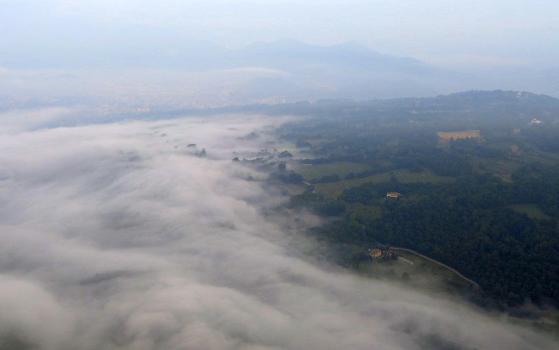 A blanket of clouds from a high vantage point during our hot air balloon ride