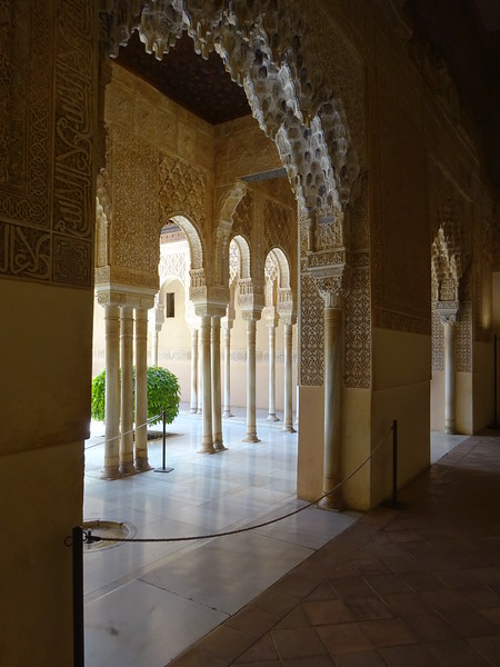 An interior view from the Moorish Nasrid Palace, the jewel of the Alhambra.