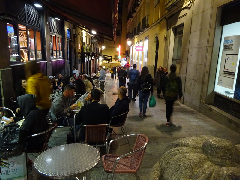 Madrid is a night-time city.  Most bars and restaurants are open until midnight.  The streets are filled with people, even on weeknights.