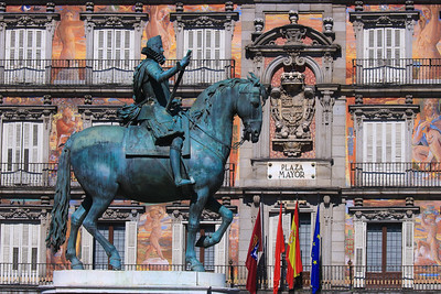 King Phillippe Statue in Plaza Mayor, old town Madrid Spain