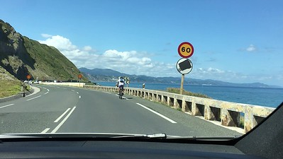 Road out from Getaria towards Bilbao along the coast