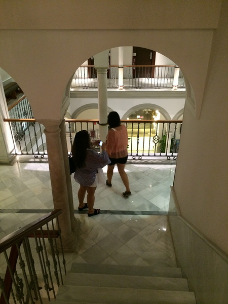 On our walk down the stairs of the hotel.
