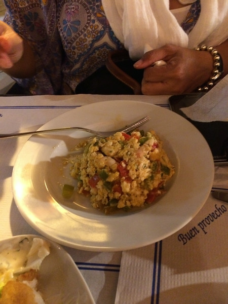 Scrambled egg dish with green and red bell peppers, also yummy!