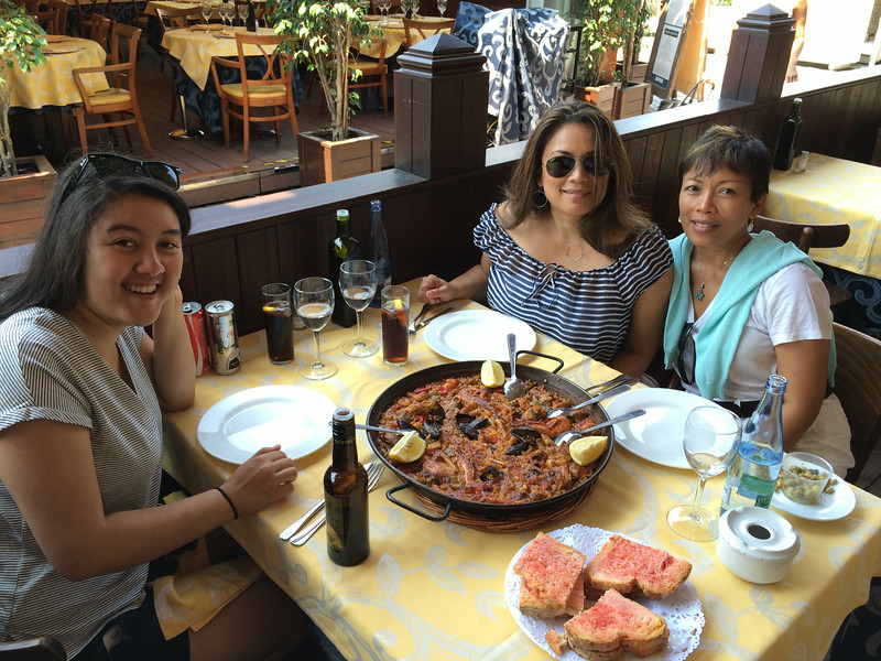 This yummy paella dish is supposed to be for 3 people. More like for 10 people. Next time we order paella, we'll order the 1 or 2 people size. It was so delicious and the seafood was fresh!