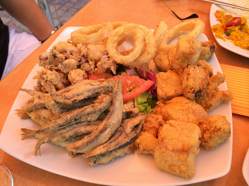 Combination of fried seafood, yum!