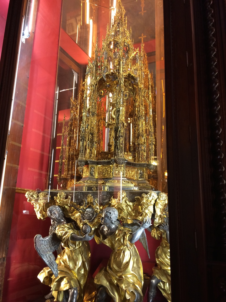 A gold and silver, Monstrance, about 10 feet high  in this treasury room. Only taken out once or twice a year for a procession.