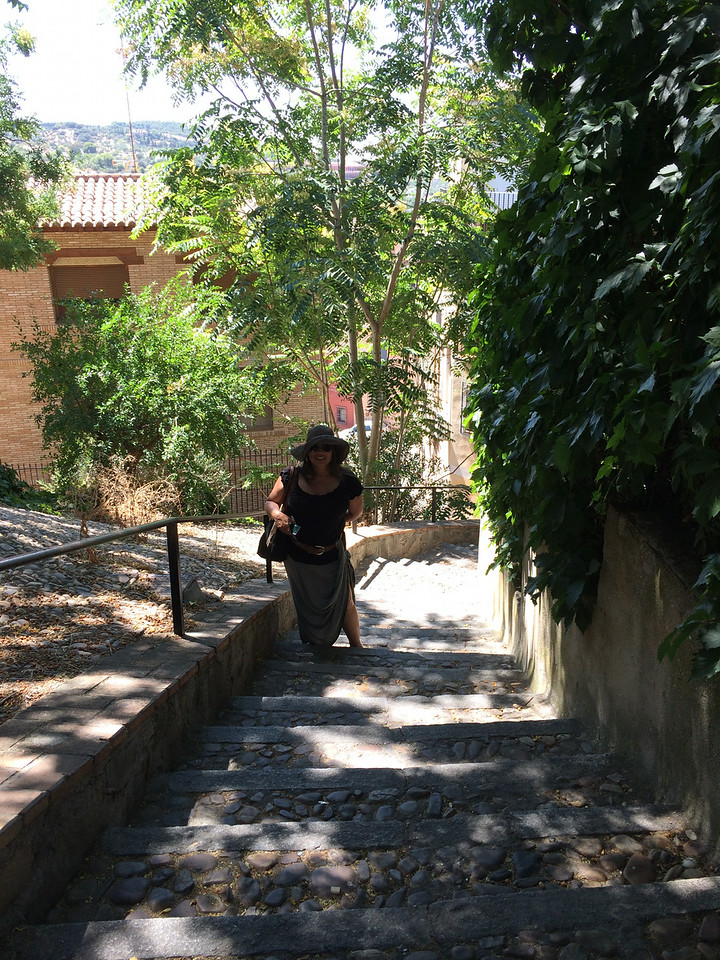 Now time to make our trek back up to the main part of the city. We cut through this cobble stone stairway where it's nice and shady.