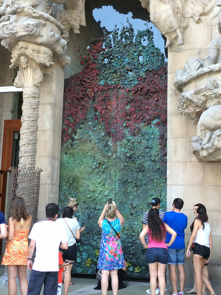 This door is designed by the Japanese sculptor, Sotoo, who is a follower of Gaudí. It contains ivy leaves, flowers, and different types of bugs.