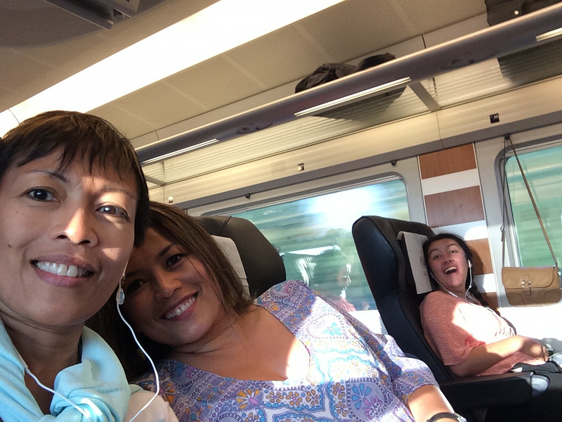 Selfie on the AVE train to Seville that evening as the scenery speeds by...