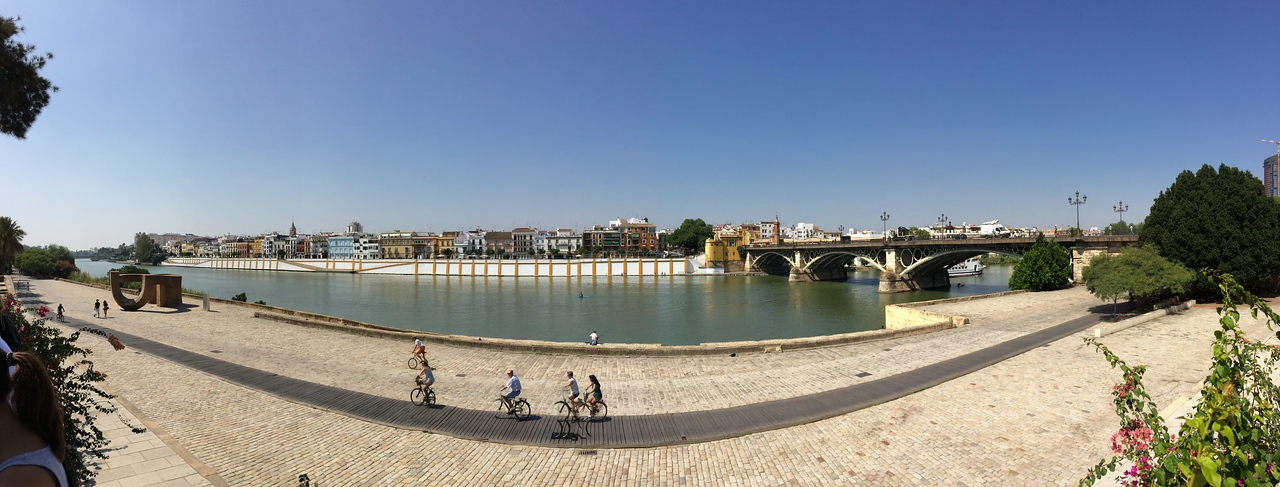 A panoramic of Triana district across the river, day time view.