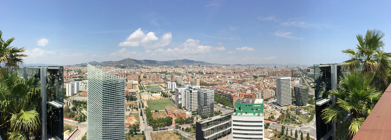 Panoramic view of city from the rooftop terrace.