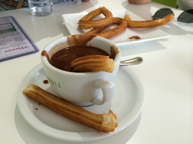 Churros are dipped in thick gooey hot chocolate. Typically eaten for breakfast, but we decided to have this as an afternoon snack as  a treat after walking around Alcala...