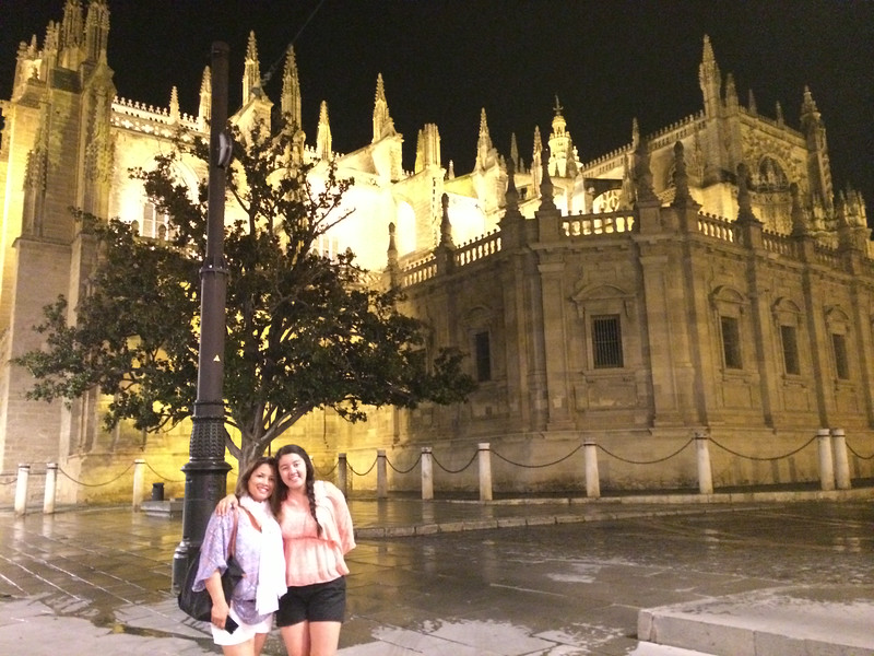 Avi and Linds posing with the cathedral, a prime example of Gothic and Baroque architecture.