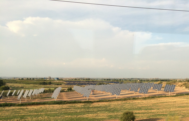 Solar panel farms on our train ride to Barcelona.