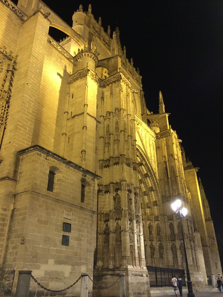 The looming Seville Cathedral, another UNESCO World Heritage site, all lit up at night. This is the 3rd largest cathedral in Europe/British Isles. The largest is St Peters in Rome and 2nd St. Paul in London.