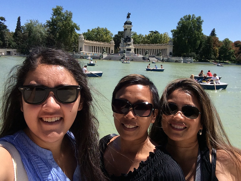 Walked to Retiro Park, one of the largest parks in the city of Madrid. Roughly half the size of Central Park in NYC. Behind us is a monument to Alfonso XII.