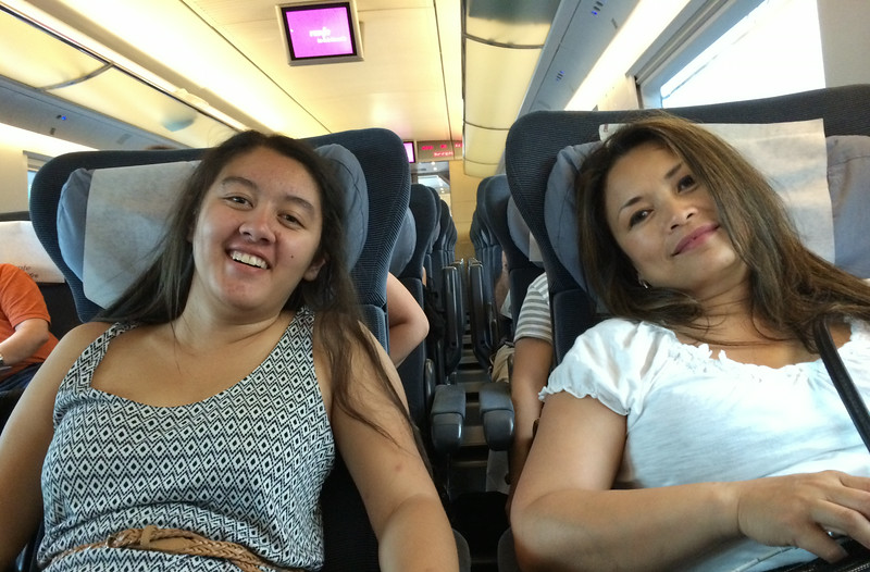 Ah, relaxing on our two and a half hour high speed train(the AVE, Alta Velocidad Española) ride from Madrid to Barcelona. Spain has the second longest high speed railway network in the world, 1st is China.