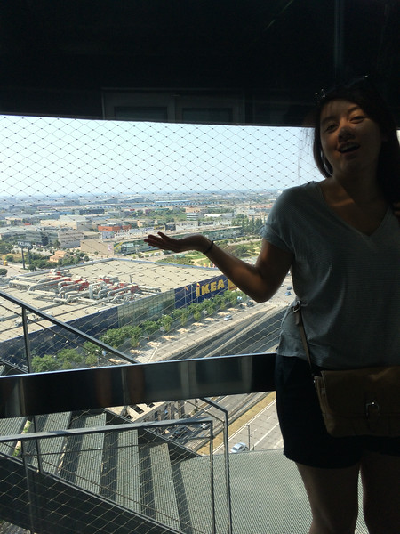 Scary hotel elevator ride open to everything(if you are scared of heights like me)...whoah, is that an Ikea store?