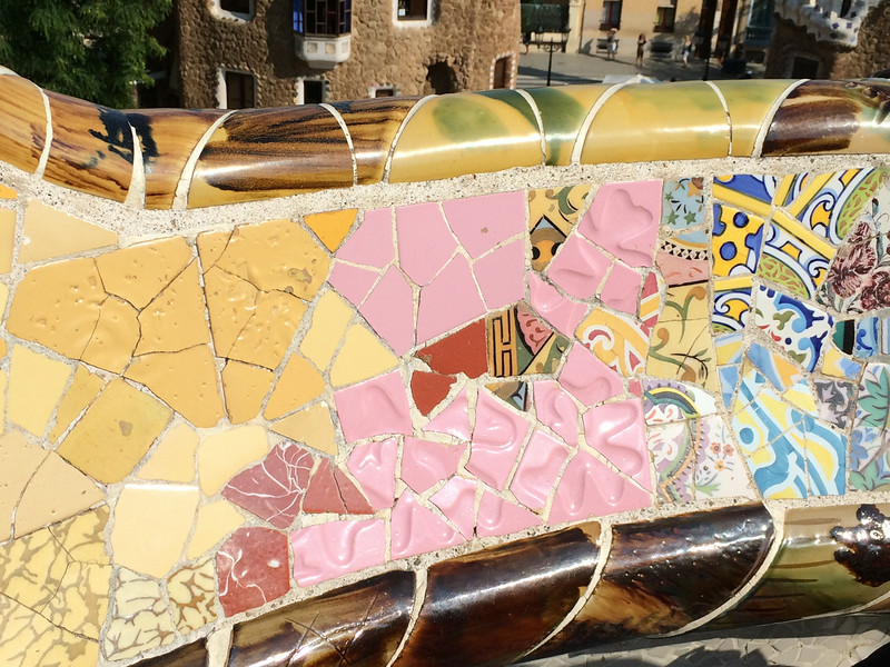 Details of the mosaic tiles on the bench.