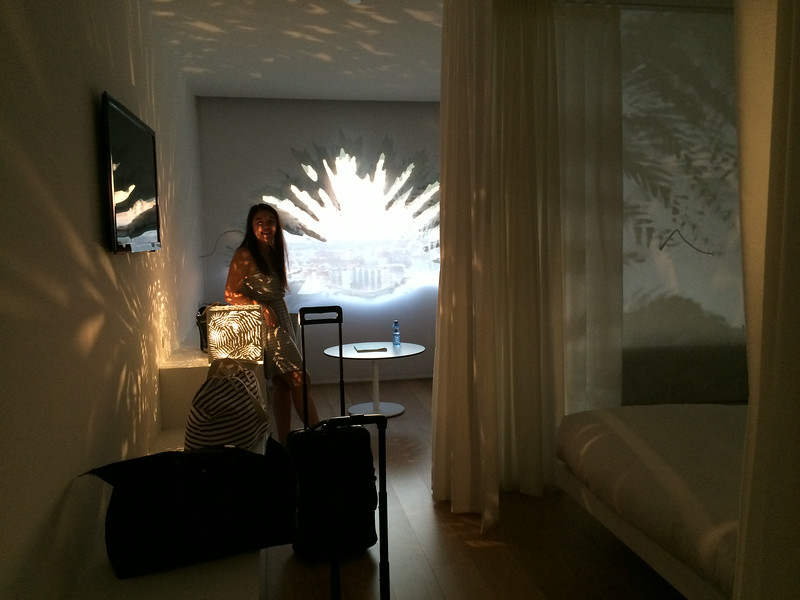 Funky window and light fixtures at the Renaissance Barcelona Fira Hotel .