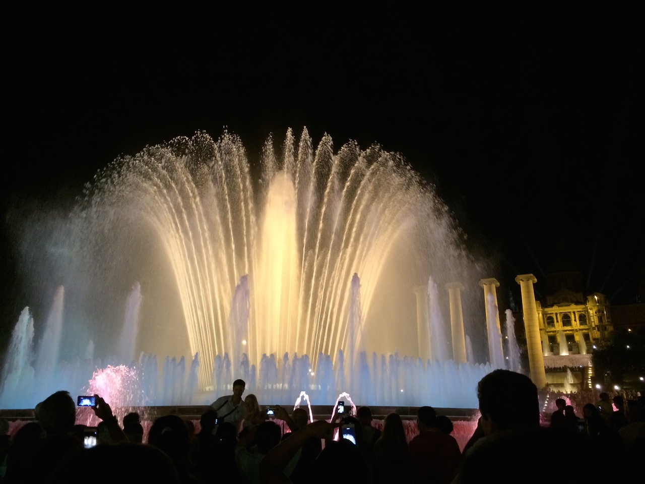 The waters dance and change colors to music. Very impressive for something built in 1929....Bellagio fountains in Vegas is great, but here you are in Barcelona and have a backdrop of the National Palace so it's special and priceless!!!!