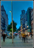 Barcelona - This is a five frame HDR image of the street our hotel was on (Portal de L'Angel) just after sunset.
