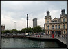 Barcelona - View of the Columbus Monument from the Rambla del Mar.