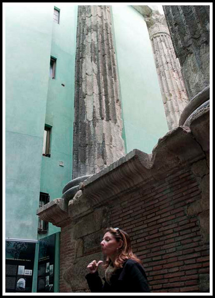 Barcelona - Remains of Roman columns from the Mont Taber Roman Temple with our local gude Joanna.