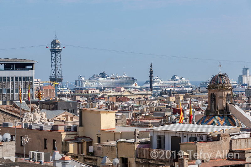 Teleferic de Montjuic and port with Columbus monument and cruise ships, Barcelona, Spain