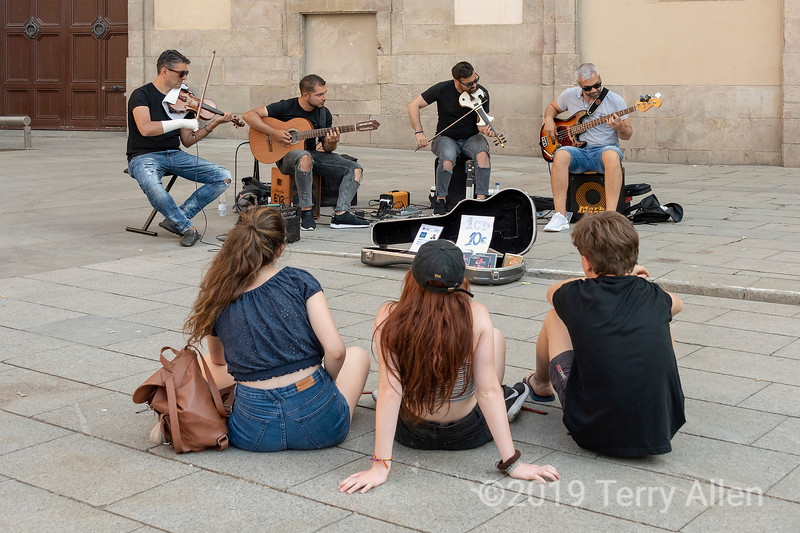 The concert, public square, Barcelona Cathedral, Spain