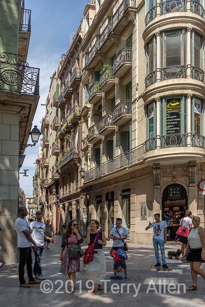 Wrought iron balconies off Las Rambas, Barcelona, Spain