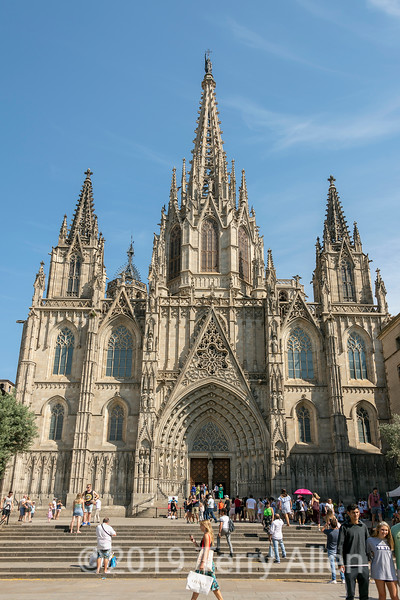 Barcelona Cathedral, 14th C gothic with 19th C neo-Gothic facade, Barcelona, Spain