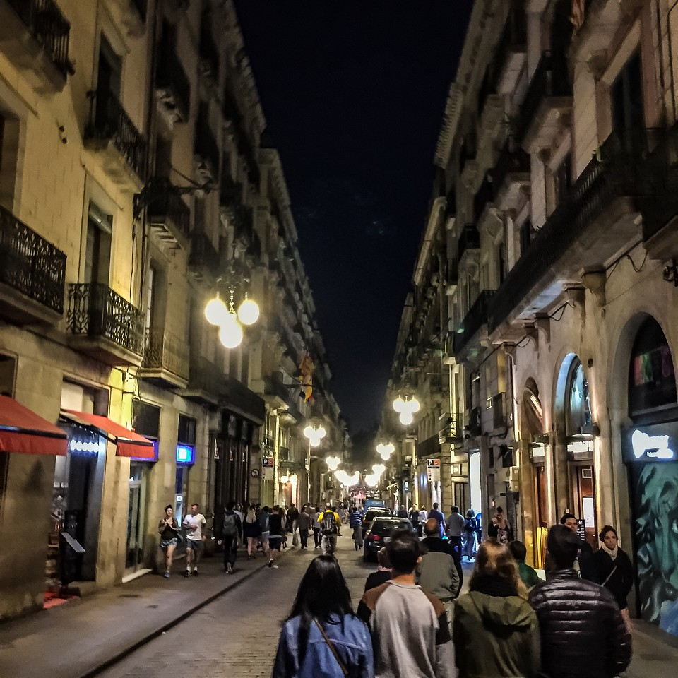 Crowded Streets of the Gothic Quarter in Barcelona