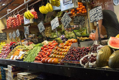 Fruits and Vegetables in the La Boqueria Food Market just off Las Ramblas in the Gothic Quarter
