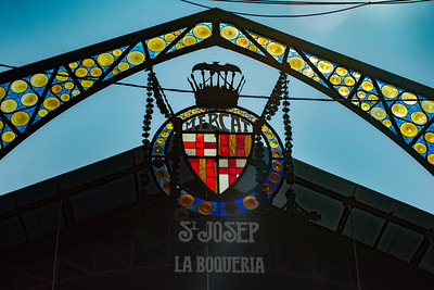 Stained glass entrance sign  to La Boqueria Food Market