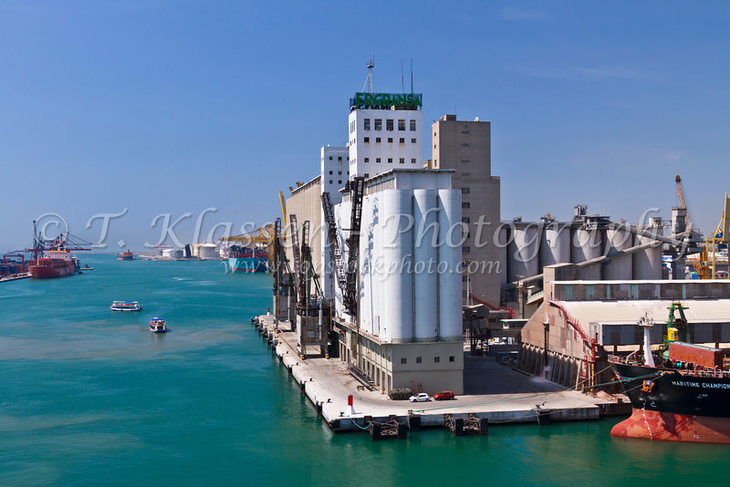 A port terminal at the port of Barcelona, Spain.
