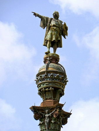 Statue of Columbus overlooking Port Vell where he landed in 1493 after discovering America.