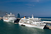 Cruise ships docked in the port of Barcelona, Spain.