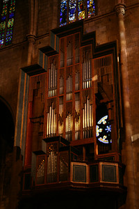 Organ facade in Iglesia del Pi.  Only the positive division and some facade pipes exist at this time.