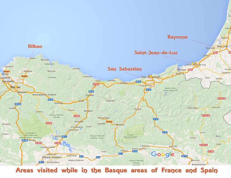 Towns visited while in the Basque areas of Spain & France
