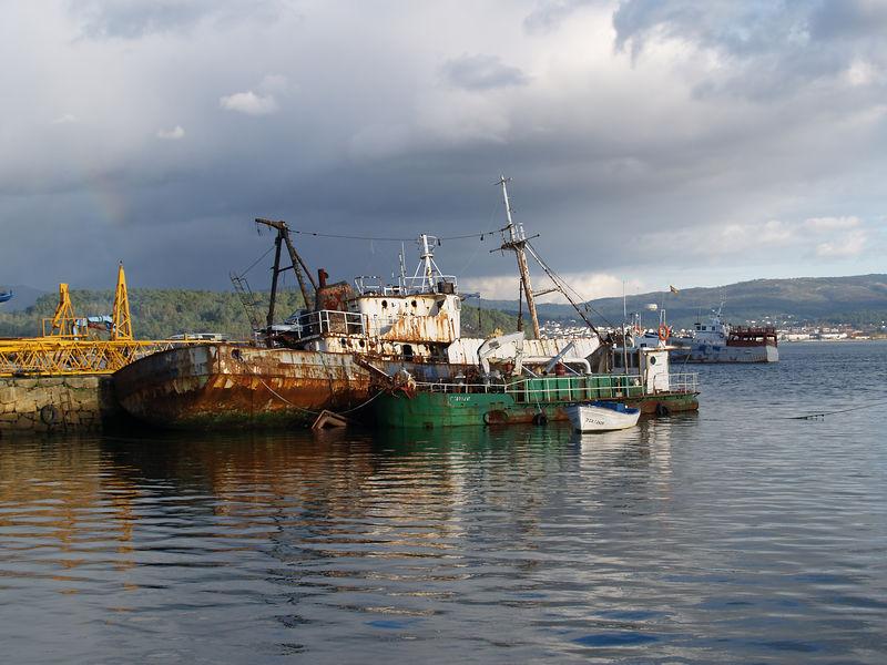 Derelict fishing trawler, Atlantic coast, Galicia, Spain.