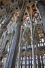 Interior view of Gaudi's La Sagrada Familia, Barcelona, Spain. (best larger)<br /> <br /> Even though still unfinished, the interior spaces are incredibly awe inspiring. The columns are lit by coloured light coming through the stained glass windows.
