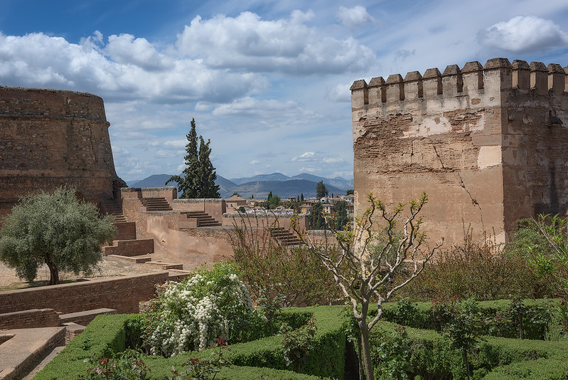 View on Gardens, City Wall, and Sierra Neveda