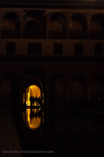 Reflecting pool at night, Alhambra, Granada