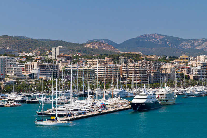 The port of Palma with boats and ships in Palma de Mallorca, Spain.