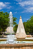 A park with tropical vegetation and fountains in Palma de Mallorca, Spain.