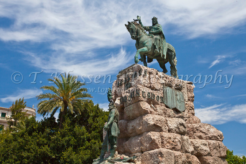 Monument of Conquistador in Palma de Mallorca, Spain.